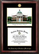 Southern Mississippi Golden Eagles Gold Embossed Diploma Frame with Campus Images Lithograph
