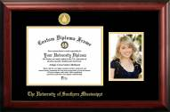 Southern Mississippi Golden Eagles Gold Embossed Diploma Frame with Portrait