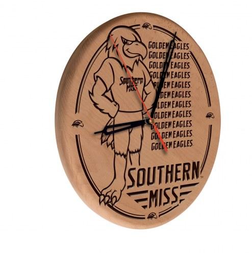 Southern Mississippi Golden Eagles Laser Engraved Wood Clock