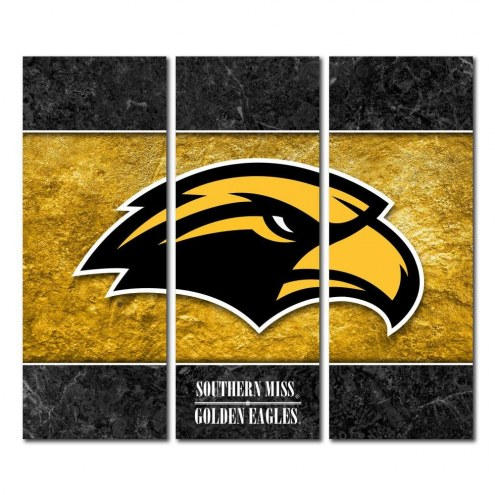 Southern Mississippi Golden Eagles Triptych Double Border Canvas Wall Art