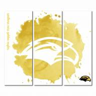 Southern Mississippi Golden Eagles Triptych Watercolor Canvas Wall Art