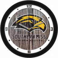 Southern Mississippi Golden Eagles Weathered Wood Wall Clock