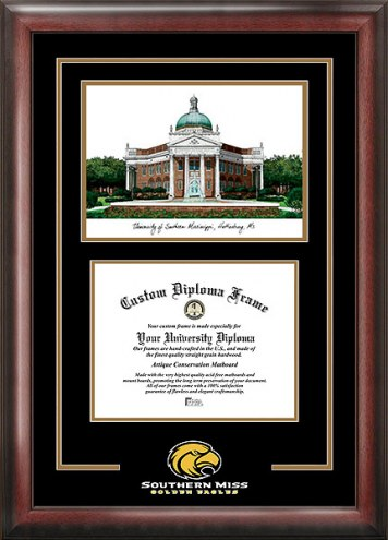 Southern Mississippi Golden Eagles Spirit Diploma Frame with Campus Image