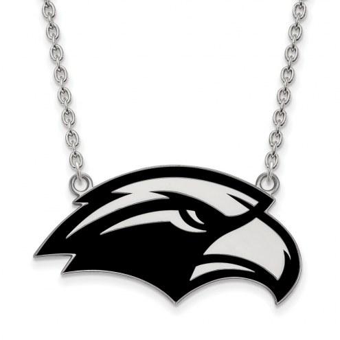 Southern Mississippi Golden Eagles Sterling Silver Large Enameled Pendant Necklace