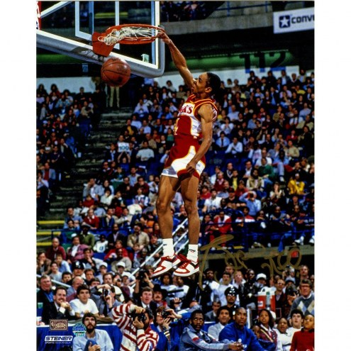 Spud Webb Signed Slam Dunk Contest 8 x 10 Photo (Signed in Gold)