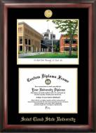 St. Cloud State Huskies Gold Embossed Diploma Frame with Campus Images Lithograph