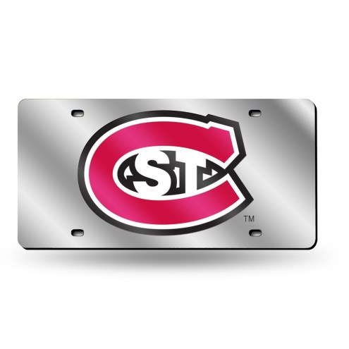 St. Cloud State Huskies Silver Laser Cut License Plate