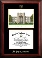St. John's Red Storm Gold Embossed Diploma Frame with Campus Images Lithograph