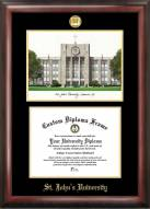 St. John's Red Storm Gold Embossed Diploma Frame with Lithograph