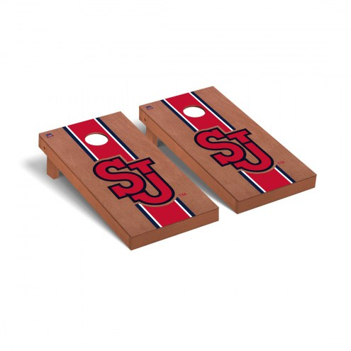 St. John's Red Storm Rosewood Stained Cornhole Game Set