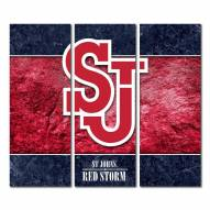 St. John's Red Storm Triptych Double Border Canvas Wall Art