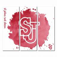 St. John's Red Storm Triptych Watercolor Canvas Wall Art