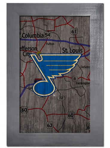 """St. Louis Blues 11"""" x 19"""" City Map Framed Sign"""
