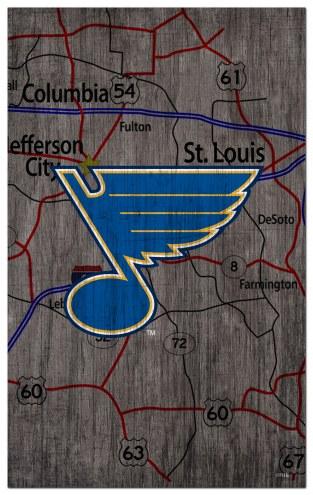 """St. Louis Blues 11"""" x 19"""" City Map Sign"""