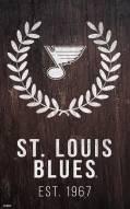"""St. Louis Blues 11"""" x 19"""" Laurel Wreath Sign"""