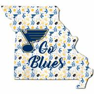 """St. Louis Blues 12"""" Floral State Sign"""