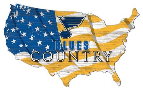 "St. Louis Blues  15"" USA Flag Cutout Sign"