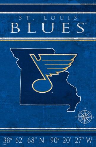 """St. Louis Blues  17"""" x 26"""" Coordinates Sign"""