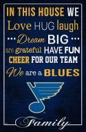 """St. Louis Blues  17"""" x 26"""" In This House Sign"""