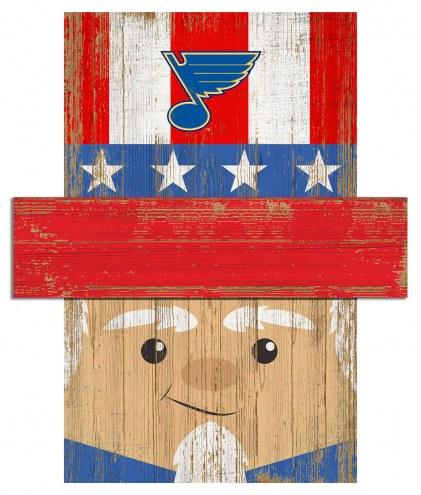 """St. Louis Blues 19"""" x 16"""" Patriotic Head"""