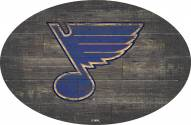 """St. Louis Blues 46"""" Distressed Wood Oval Sign"""