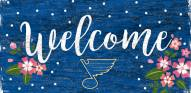 """St. Louis Blues 6"""" x 12"""" Floral Welcome Sign"""