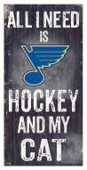 "St. Louis Blues  6"" x 12"" Hockey & My Cat Sign"