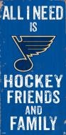 """St. Louis Blues 6"""" x 12"""" Friends & Family Sign"""