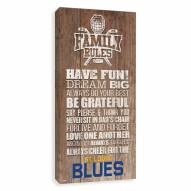 St. Louis Blues Family Rules Icon Wood Printed Canvas