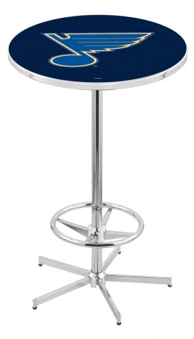 St. Louis Blues Chrome Bar Table with Foot Ring