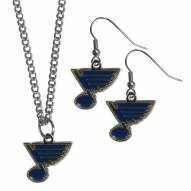 St. Louis Blues Dangle Earrings & Chain Necklace Set