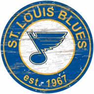 St. Louis Blues Distressed Round Sign