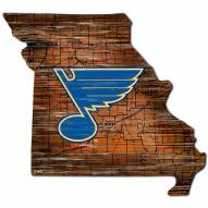 St. Louis Blues Distressed State with Logo Sign