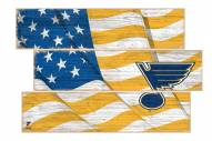 St. Louis Blues  Flag 3 Plank Sign