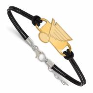 St. Louis Blues Gold Plated Sterling Silver Leather Bracelet