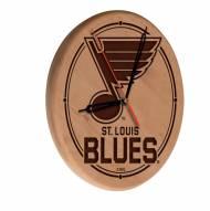 St. Louis Blues Laser Engraved Wood Clock
