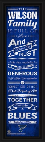 St. Louis Blues Personalized Family Cheer Framed Art