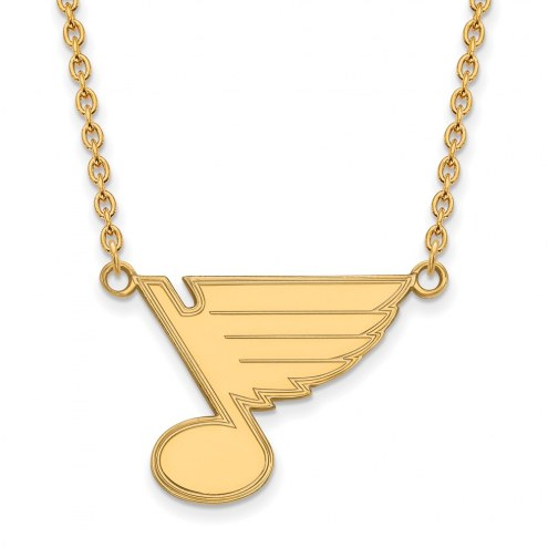 St. Louis Blues Sterling Silver Gold Plated Large Pendant Necklace