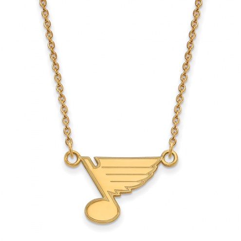 St. Louis Blues Sterling Silver Gold Plated Small Pendant Necklace