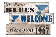 St. Louis Blues  Welcome 3 Plank Sign