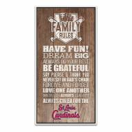 St. Louis Cardinals Family Rules Icon Wood Framed Printed Canvas