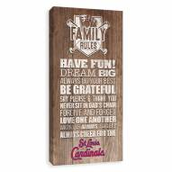 St. Louis Cardinals Family Rules Icon Wood Printed Canvas