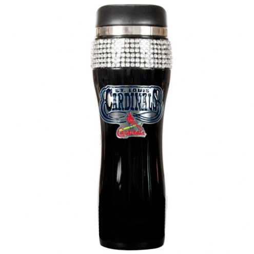 St. Louis Cardinals Black Stainless Steel Bling Travel Tumbler