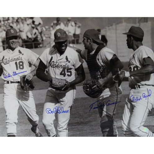 "St. Louis Cardinals Bob Gibson, Tim McCarver, Mike Shannon, Orlando Cepeda Signed 16"" x 20"" Photo"