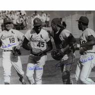 """St. Louis Cardinals Bob Gibson, Tim McCarver, Mike Shannon, Orlando Cepeda Signed 16"""" x 20"""" Photo"""