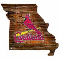 St. Louis Cardinals Distressed State with Logo Sign