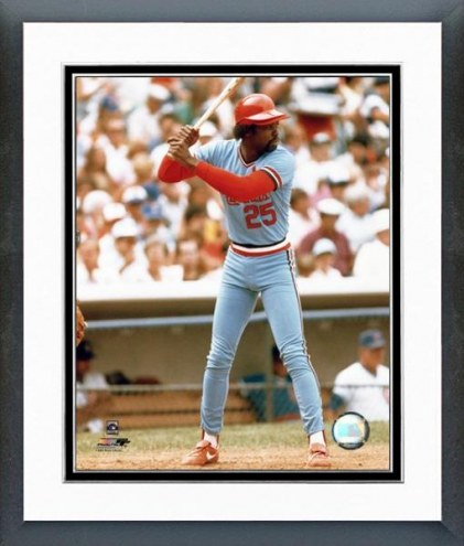 St. Louis Cardinals George Hendrick Action Framed Photo