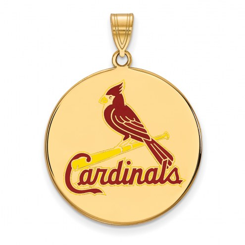 St. Louis Cardinals Sterling Silver Gold Plated Extra Large Enameled Disc Pendant