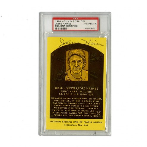 St. Louis Cardinals Jesse Haines Signed Hall of Fame Plaque Postcard