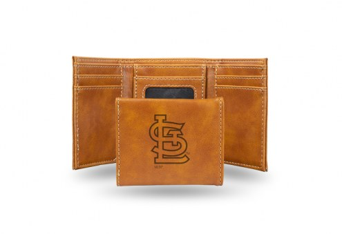 St. Louis Cardinals Laser Engraved Brown Trifold Wallet